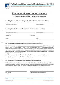Einverständniserklärung - Ermächtigung SEPA Lastschriftmandat