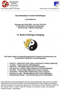 Aushang 12. Budo-Frühlings-Lehrgang 2019
