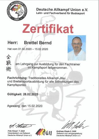 DAU-Zertifikat Fachtrainer im Kampfsport Brettel Bernd